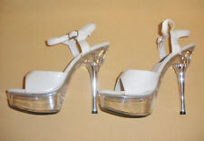 White Platform Disco High Heels w/ Clear Lucite & Rhinestones by Pleaser Sz 8