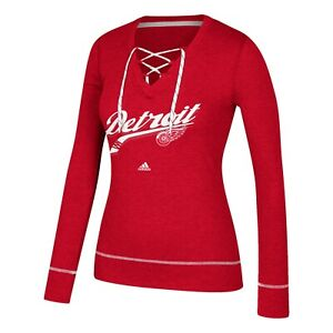 """Detroit Red Wings NHL Adidas Women's Red """"Pencil Whip"""" Skate Lace Top Fleece"""