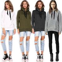 Ladies Long Sleeve Plain Hoodie Sweatshirt Casual Hood Hoody Pullover Jumper Top