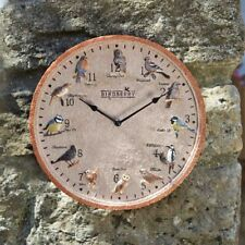Birdberry Wall Clock Outdoor Bristish Garden Birds Blackbird Tit Finch Wren