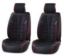 1+1 pu nero pelle & Tessuto Copri sedili anteriori CUSCINETTO PER SEAT FIAT