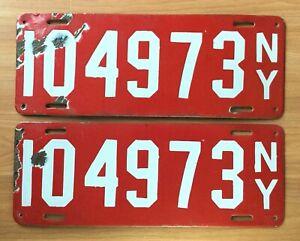 VTG ANTIQUE 1912 NY PORCELAIN ENAMEL CAR AUTOMOBILE RED LICENSE PLATE L&G PAIR