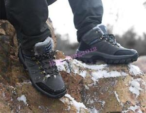 Men's Winter Lace Up Mens Fur Lining Fleece Ankle Boots Hiking Sports Snow Shoes