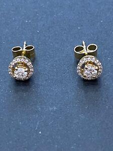 18CT Yellow Gold Stud Halo Earrings
