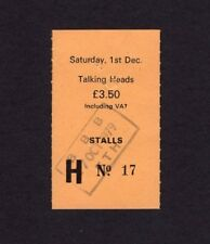 1979 Talking Heads Concert Ticket Stub Manchester Uk David Byrne Fear of Music