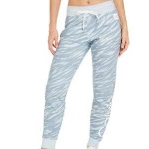 Calvin Klein Womens Blue Zebra-Print Jogger Sweatpants Size Medium $59 (STAINS)