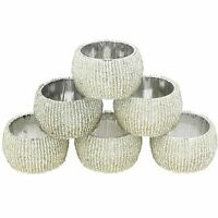 1.5 Inch Handmade Silver Beaded Napkin Rings Set Of  6 Table Decor Unique Gift