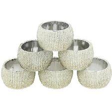 Nirvana-Class 1.5 Set of 6 Indian Art Table Decor Silver Napkin Rings Holders