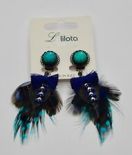 *LOLILOTA*LOL BIJOUX*BEAUTIFUL ARTIST FEATHERS LONG EARRINGS**BLACK/BLUE**
