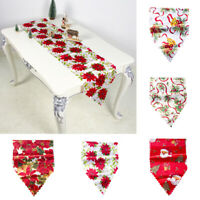 Christmas Bell Flower Santa Decor Tablecloth Party Dining Table Runner Cover hot