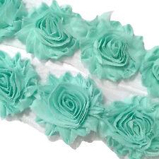 """1/2 yard sea foam green 2.5"""" shabby chiffon rose trim fabric flowers DIY supply"""
