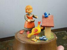 Vintage Anri Italy Wood Carved Music Rotating Girl Feeding Chickens Figurine