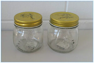 48 x Screw Top Premium Preserving Glass Jam Jar (300 ml) - Pattern on Seal Lid