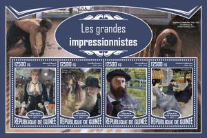 Guinea 2017 MNH Great Impressionists Manet Monet Pissarro 4v M/S Art Stamps