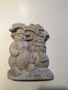 """Geo. Carruth Snowman Family Sculpture Wall Plaque """"Greetings"""" 2000"""