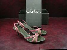 Cole Haan Women's Slingback Sandals Rochelle 9M Brown Leather Pink Trim NIB