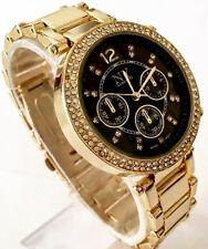 Ladies Gold Wrist Watch Black Luxury Metal Strap Diamante Designer Classic New