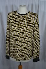 ZARA yellow and black long sleeve top with geometric print size M NEVER WORN