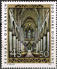 Austria Art Famous Linz Cathedral Arhitecture stamp 1985