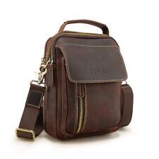 Retro Men's Leather Small Crossbody Messenger Shoulder Bag Satchel Zipper Tote