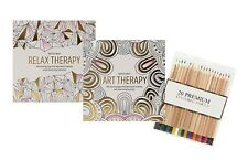 2x Anti-Stress Adult Relaxing Art Therapy Colouring Books & 20 Colouring Pencils