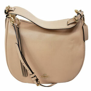Coach Sutton Hobo Polish Pebble Leather Purse Beige