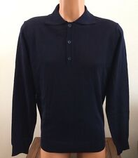 Tahari Mens Small 3 Button Pullover Sweater 100% Extrafine Merino Wool Navy Blue