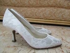 Pink by Paradox London Ladies White Lace & Satin Wedding Shoes   EU 36 UK 3