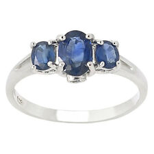 De Buman Sterling Silver Three Sapphire & White Topaz Ring, Size 7