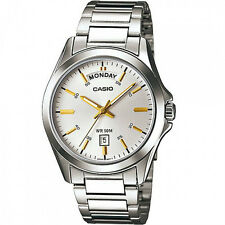 NEW MEN'S CASIO 50 METERS STAINLESS STEEL DAY DATE WATCH MTP1370D-7A2V