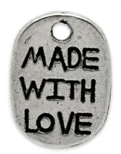 40 Made With Love Silver Metal Oval Scrapbooking Favour Tag Charm 11mm B15172