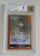 Lucas Sims 2012 Bowman Draft Chrome Orange Refractor BGS 8 w/3x 9.5  Subs Auto