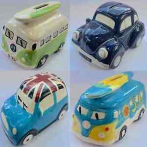 Ceramic Money Box Piggy Bank Cash Coin VW Campervan Mini Car Collectable Gift