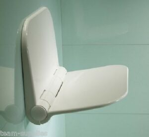 SHOWER SEAT BATHING AID WALL HUNG COMPACT WHITE PVC FOLD AWAY TYPE 160 KG T
