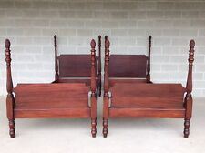 ANTIQUE PAIR OF MAHOGANY SINGLE PINEAPPLE POSTER BEDS HAND MADE (SIGNED1938)