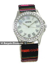 ladies teen designer-style aztec fashion dress watch fabric strap white MOP dial