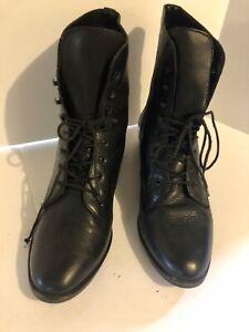 Vintage Nine West Black Leather Lace Up Prairie Boots Shoes 9.5 M