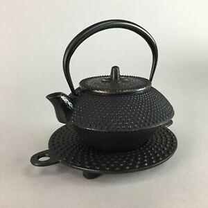 Japanese Cast Iron Teapot Stand Vtg Kyusu Tetsubin Kettle Arare Nanbu Tekki T65