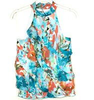 A Byer Blue Sleeveless Medium Womens Floral Halter Top Ruffle Shirt Key Hole