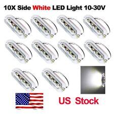 10X 12V 24V White 4 SMD LED Side Marker Tail Light Clearance Lamp Truck US Stock