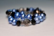 New listing Blue Pearl and Fish Collar, Breakaway Magnetic Clasp Cat or Small Dog