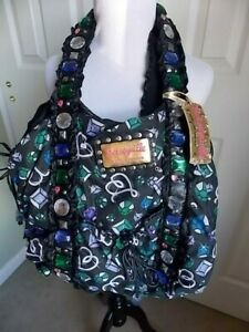 "Vintage Betsey Johnson Betseyville Big Fabric Tote 2-handled 18""x14"" NEEDS TLC"