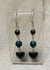 Blue Apatite And Hematite Heart silver plated earrings