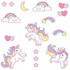 Cute Unicorn Wall Sticker Set - Girls Kids Bedroom Rainbow Mystical Decal Decor