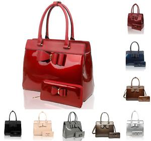 2IN1 Set Bag Large Bow Patent Tote Shoulder Handbag + Matching Small Purse Bag