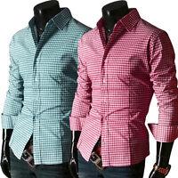 Mens Fashion Luxury Casual Shirts Slim Fit Stylish Dress Shirts Tops Long Sleeve