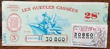 Billet de loterie nationale 1963 28e tranche groupe 2 - Les Gueules Cassées 1/10