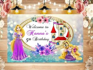 Personalized Tangled Rapunzel Banner Party Backdrop ADD NAME / PERSONALIZADO
