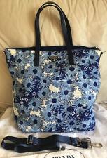 NWT $1185+Prada B4696F Tessuto Stampato Nylon Flower Print Tote,Color Blue/Multi