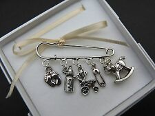 BABY THEME Silver Tone Kilt Pin charm Brooch Baby Shower Newborn Mum to be